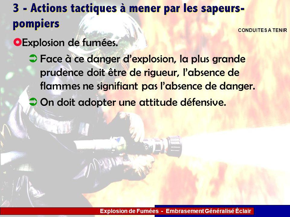 Explosion de Fumées - Embrasement Généralisé Éclair 3 - Actions tactiques à mener par les sapeurs- pompiers Explosion de fumées. Face à ce danger dexp