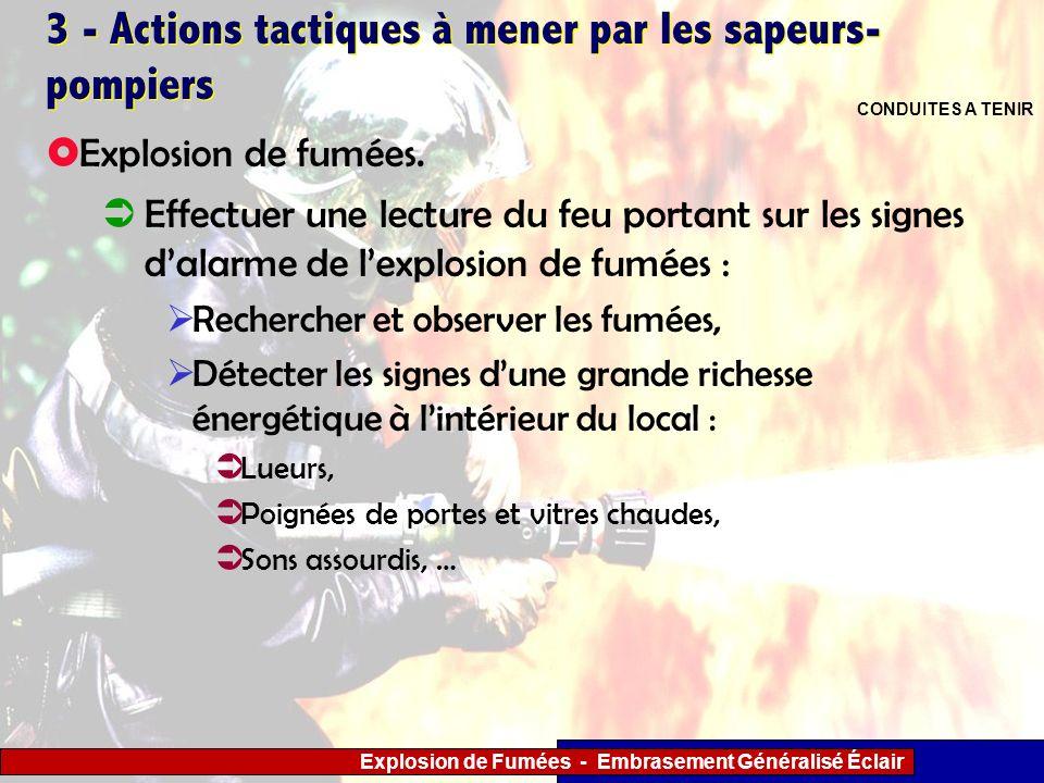 Explosion de Fumées - Embrasement Généralisé Éclair 3 - Actions tactiques à mener par les sapeurs- pompiers Effectuer une lecture du feu portant sur l