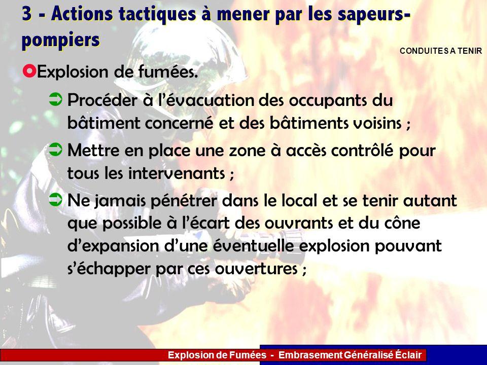 Explosion de Fumées - Embrasement Généralisé Éclair 3 - Actions tactiques à mener par les sapeurs- pompiers Procéder à lévacuation des occupants du bâ