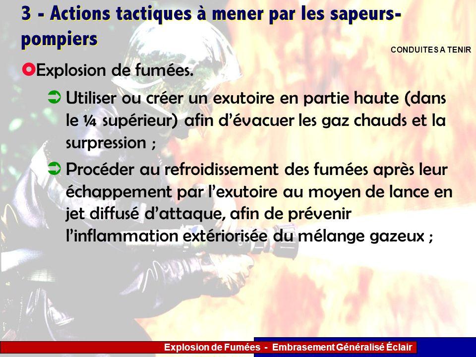 Explosion de Fumées - Embrasement Généralisé Éclair 3 - Actions tactiques à mener par les sapeurs- pompiers Utiliser ou créer un exutoire en partie ha