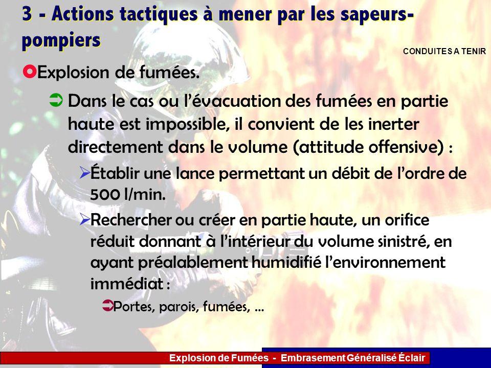 Explosion de Fumées - Embrasement Généralisé Éclair 3 - Actions tactiques à mener par les sapeurs- pompiers Dans le cas ou lévacuation des fumées en p