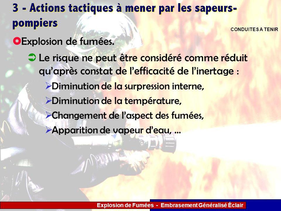 Explosion de Fumées - Embrasement Généralisé Éclair 3 - Actions tactiques à mener par les sapeurs- pompiers Le risque ne peut être considéré comme réd