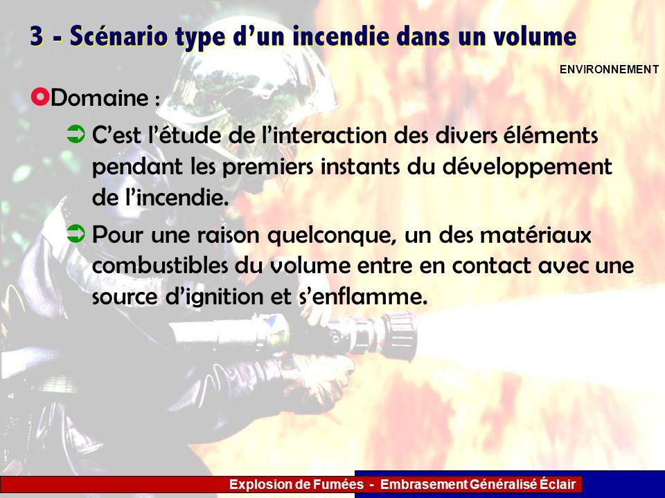Explosion de Fumées - Embrasement Généralisé Éclair 3 - Scénario type dun incendie dans un volume Domaine : Cest létude de linteraction des divers élé