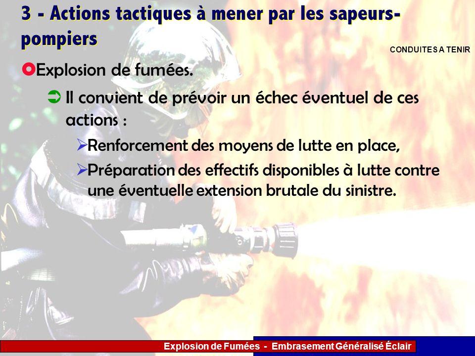 Explosion de Fumées - Embrasement Généralisé Éclair 3 - Actions tactiques à mener par les sapeurs- pompiers Il convient de prévoir un échec éventuel d