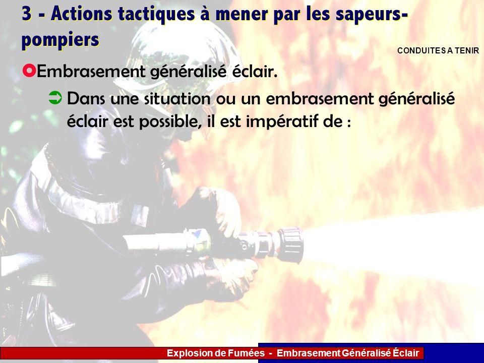 Explosion de Fumées - Embrasement Généralisé Éclair 3 - Actions tactiques à mener par les sapeurs- pompiers Embrasement généralisé éclair. Dans une si