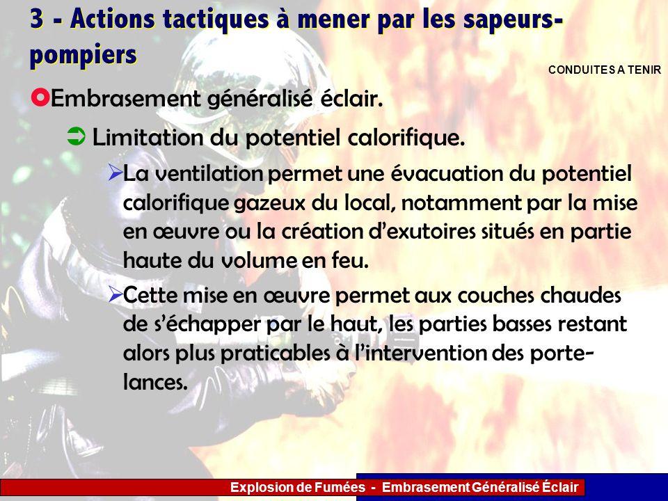 Explosion de Fumées - Embrasement Généralisé Éclair 3 - Actions tactiques à mener par les sapeurs- pompiers Limitation du potentiel calorifique. La ve