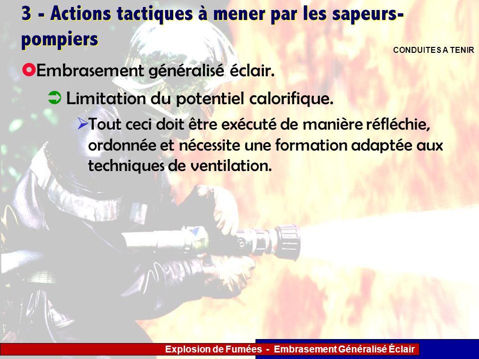 Explosion de Fumées - Embrasement Généralisé Éclair 3 - Actions tactiques à mener par les sapeurs- pompiers Limitation du potentiel calorifique. Tout