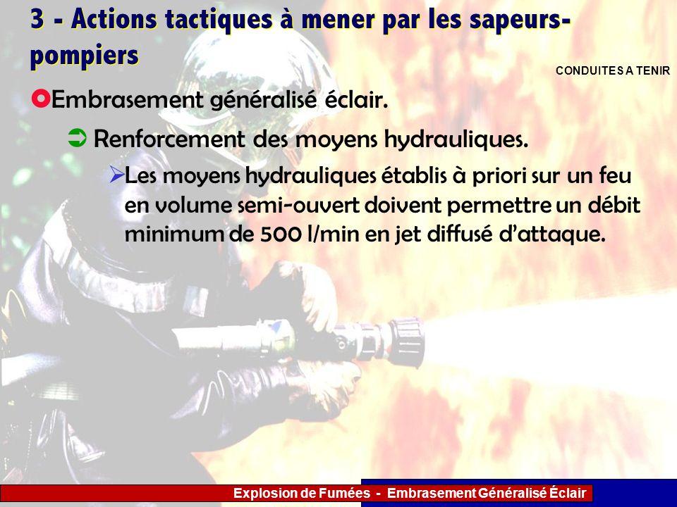 Explosion de Fumées - Embrasement Généralisé Éclair 3 - Actions tactiques à mener par les sapeurs- pompiers Renforcement des moyens hydrauliques. Les