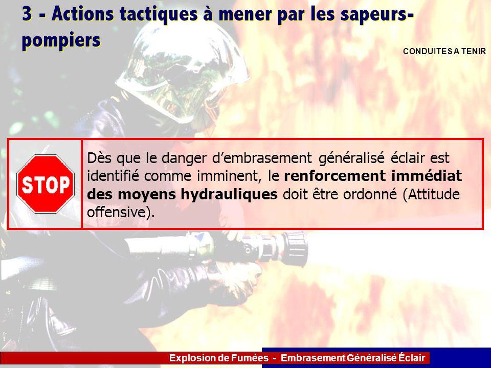 Explosion de Fumées - Embrasement Généralisé Éclair 3 - Actions tactiques à mener par les sapeurs- pompiers CONDUITES A TENIR Dès que le danger dembra