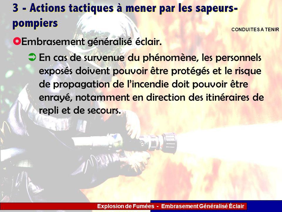Explosion de Fumées - Embrasement Généralisé Éclair 3 - Actions tactiques à mener par les sapeurs- pompiers Embrasement généralisé éclair. En cas de s