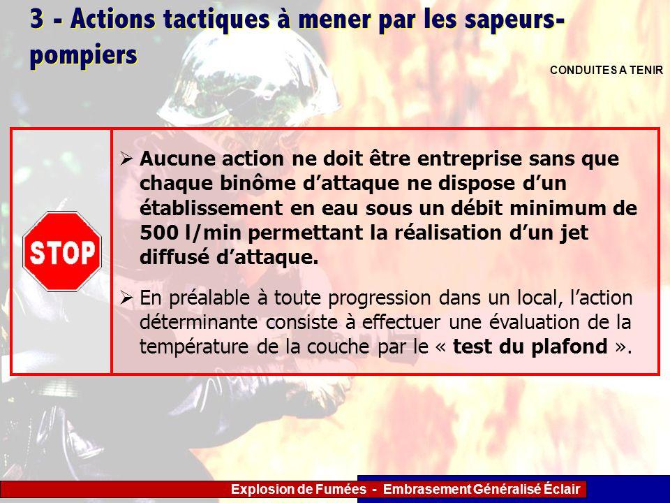 Explosion de Fumées - Embrasement Généralisé Éclair 3 - Actions tactiques à mener par les sapeurs- pompiers CONDUITES A TENIR Aucune action ne doit êt