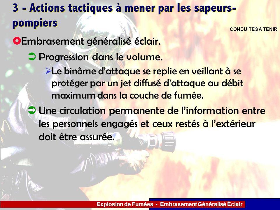 Explosion de Fumées - Embrasement Généralisé Éclair 3 - Actions tactiques à mener par les sapeurs- pompiers Le binôme dattaque se replie en veillant à
