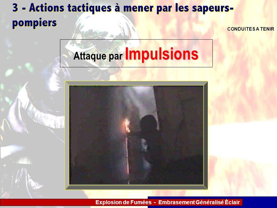 Explosion de Fumées - Embrasement Généralisé Éclair 3 - Actions tactiques à mener par les sapeurs- pompiers CONDUITES A TENIR Impulsions Attaque par I