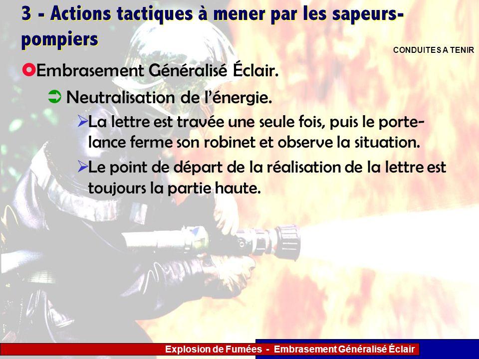 Explosion de Fumées - Embrasement Généralisé Éclair 3 - Actions tactiques à mener par les sapeurs- pompiers La lettre est travée une seule fois, puis