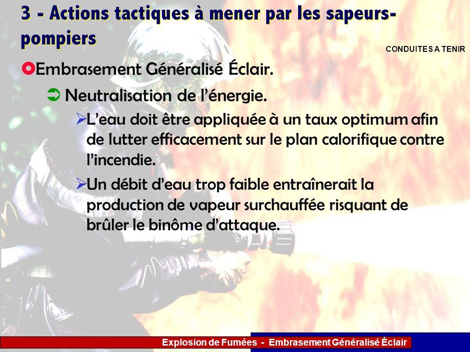 Explosion de Fumées - Embrasement Généralisé Éclair 3 - Actions tactiques à mener par les sapeurs- pompiers Leau doit être appliquée à un taux optimum