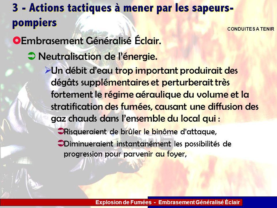 Explosion de Fumées - Embrasement Généralisé Éclair 3 - Actions tactiques à mener par les sapeurs- pompiers Un débit deau trop important produirait de