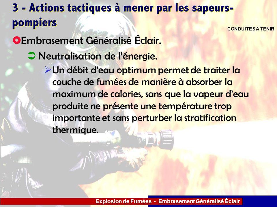 Explosion de Fumées - Embrasement Généralisé Éclair 3 - Actions tactiques à mener par les sapeurs- pompiers Un débit deau optimum permet de traiter la