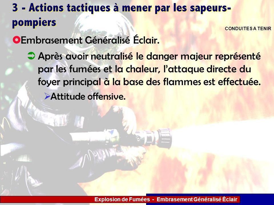 Explosion de Fumées - Embrasement Généralisé Éclair 3 - Actions tactiques à mener par les sapeurs- pompiers Après avoir neutralisé le danger majeur re