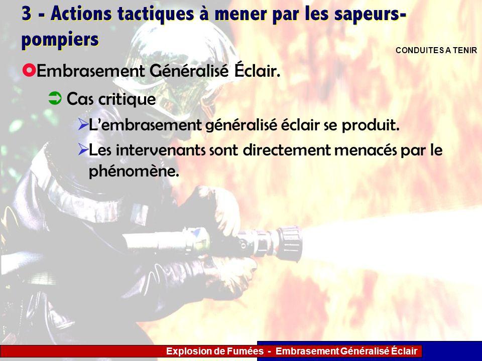 Explosion de Fumées - Embrasement Généralisé Éclair 3 - Actions tactiques à mener par les sapeurs- pompiers Cas critique Lembrasement généralisé éclai