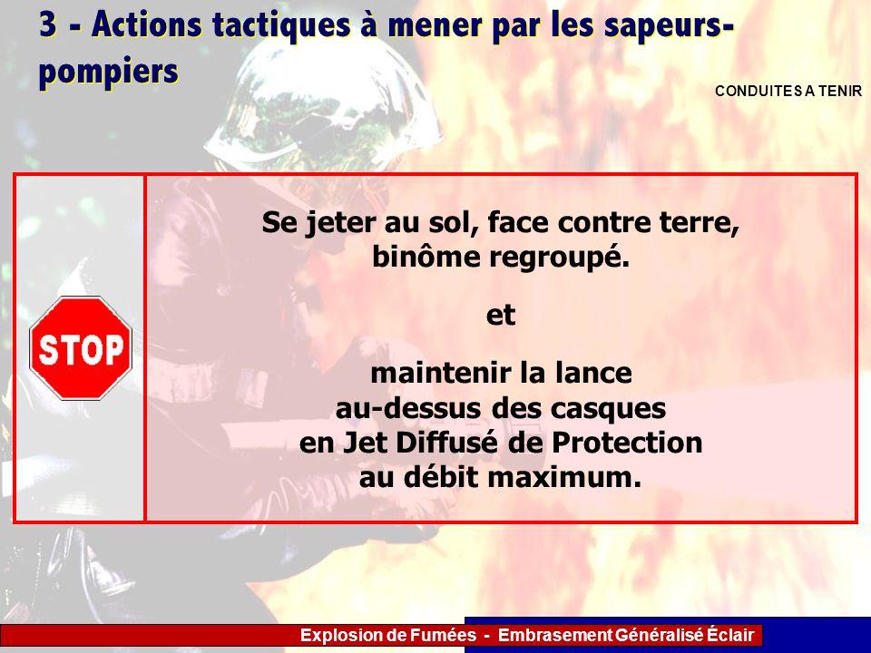 Explosion de Fumées - Embrasement Généralisé Éclair 3 - Actions tactiques à mener par les sapeurs- pompiers CONDUITES A TENIR Se jeter au sol, face co