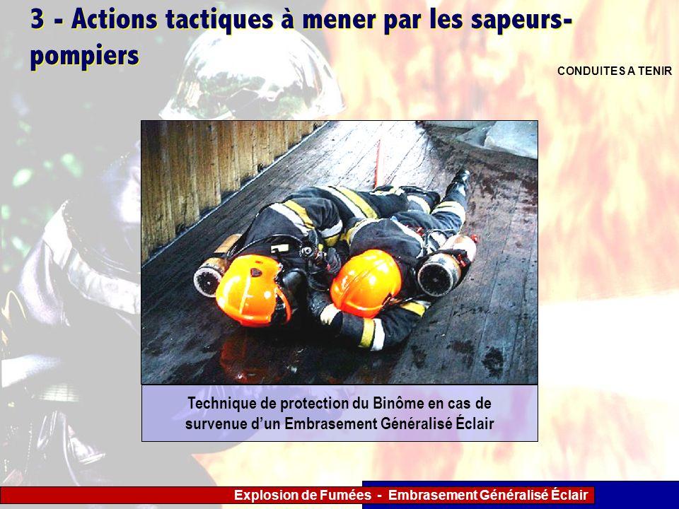 Explosion de Fumées - Embrasement Généralisé Éclair 3 - Actions tactiques à mener par les sapeurs- pompiers CONDUITES A TENIR Technique de protection