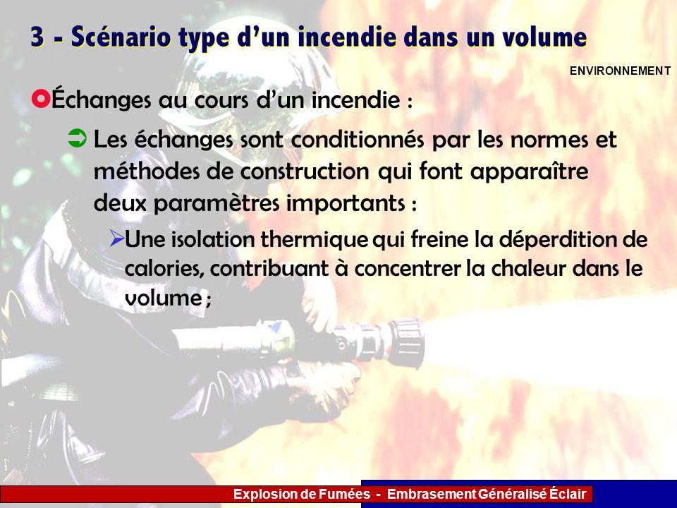 Explosion de Fumées - Embrasement Généralisé Éclair 3 - Scénario type dun incendie dans un volume Les échanges sont conditionnés par les normes et mét