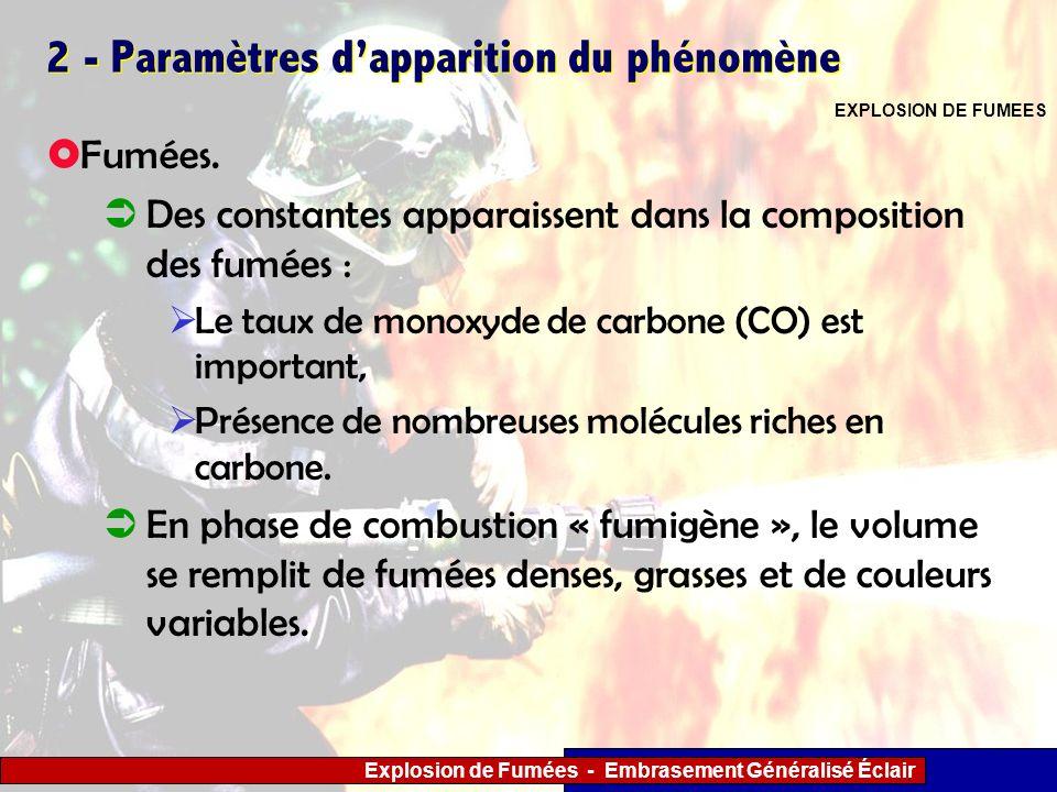 Explosion de Fumées - Embrasement Généralisé Éclair 2 - Paramètres dapparition du phénomène Fumées. Des constantes apparaissent dans la composition de