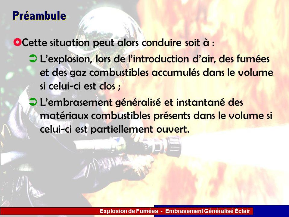 Explosion de Fumées - Embrasement Généralisé Éclair 3 - Actions tactiques à mener par les sapeurs- pompiers Utiliser ou créer un exutoire en partie haute (dans le ¼ supérieur) afin dévacuer les gaz chauds et la surpression ; Procéder au refroidissement des fumées après leur échappement par lexutoire au moyen de lance en jet diffusé dattaque, afin de prévenir linflammation extériorisée du mélange gazeux ; CONDUITES A TENIR Explosion de fumées.