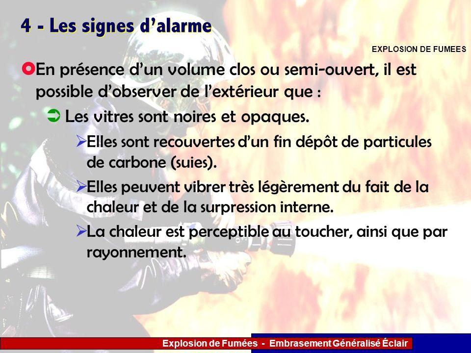 Explosion de Fumées - Embrasement Généralisé Éclair 4 - Les signes dalarme Les vitres sont noires et opaques. Elles sont recouvertes dun fin dépôt de