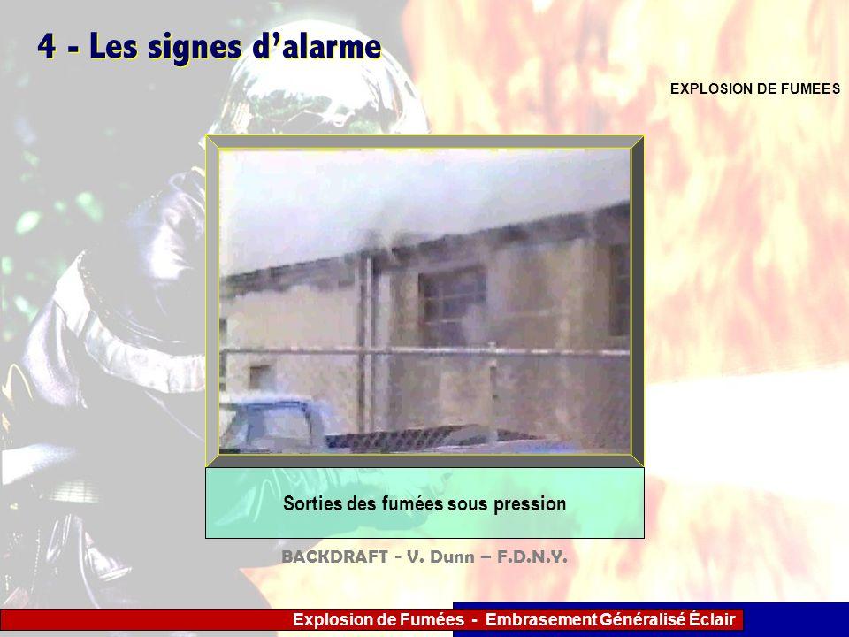 Explosion de Fumées - Embrasement Généralisé Éclair 4 - Les signes dalarme EXPLOSION DE FUMEES Sorties des fumées sous pression BACKDRAFT - V. Dunn –