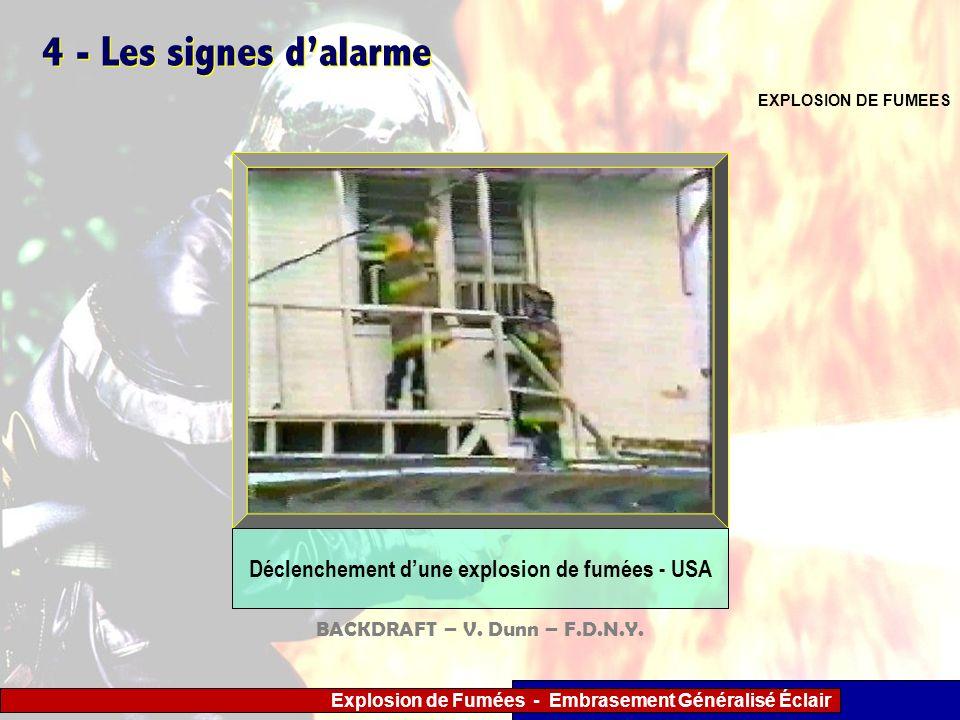 Explosion de Fumées - Embrasement Généralisé Éclair 4 - Les signes dalarme EXPLOSION DE FUMEES Déclenchement dune explosion de fumées - USA BACKDRAFT