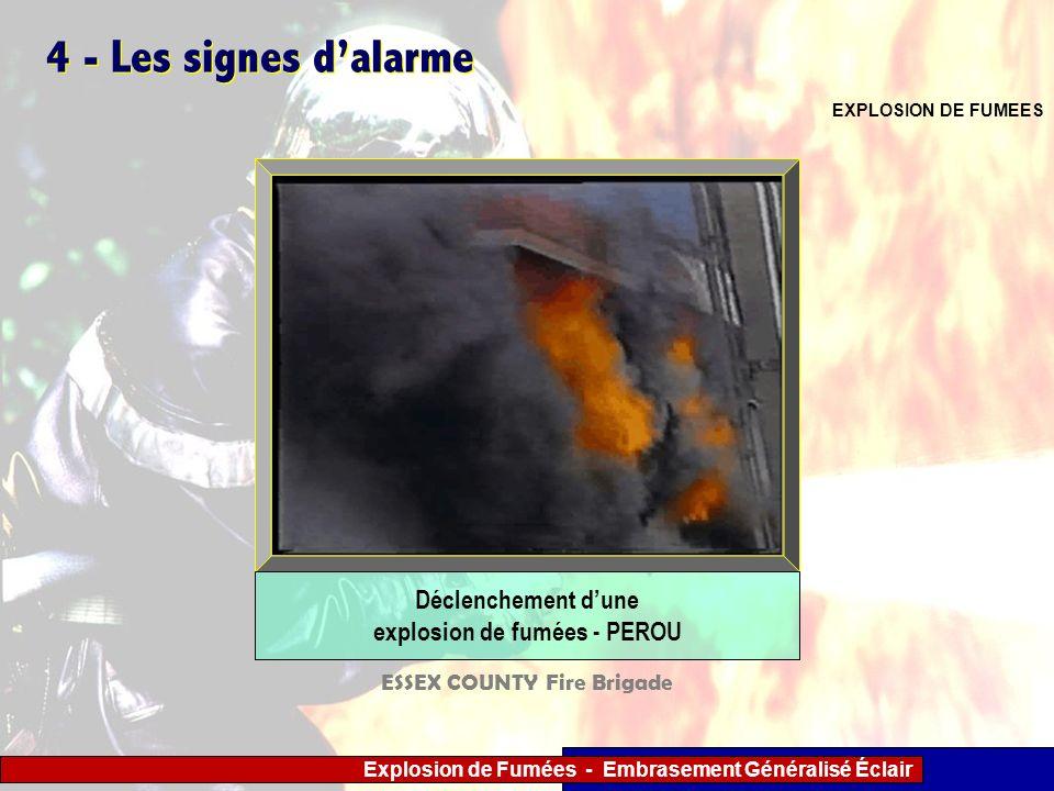Explosion de Fumées - Embrasement Généralisé Éclair 4 - Les signes dalarme EXPLOSION DE FUMEES Déclenchement dune explosion de fumées - PEROU ESSEX CO