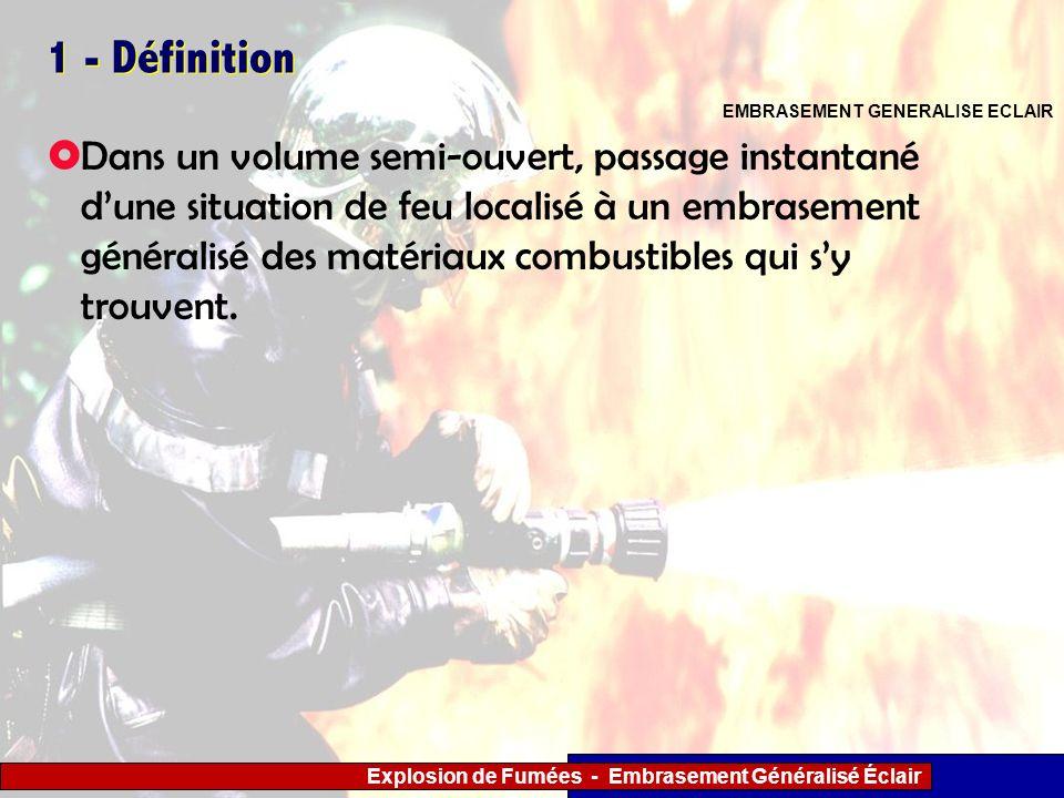 Explosion de Fumées - Embrasement Généralisé Éclair 1 - Définition Dans un volume semi-ouvert, passage instantané dune situation de feu localisé à un