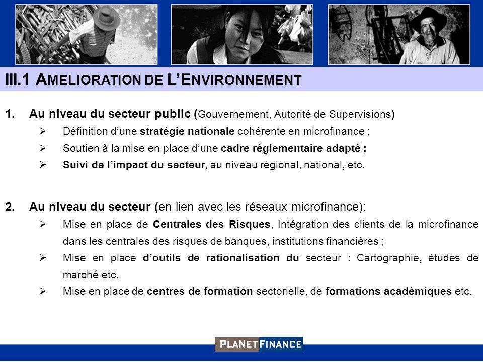III.1 A MELIORATION DE LE NVIRONNEMENT 1.Au niveau du secteur public ( Gouvernement, Autorité de Supervisions) Définition dune stratégie nationale cohérente en microfinance ; Soutien à la mise en place dune cadre réglementaire adapté ; Suivi de limpact du secteur, au niveau régional, national, etc.