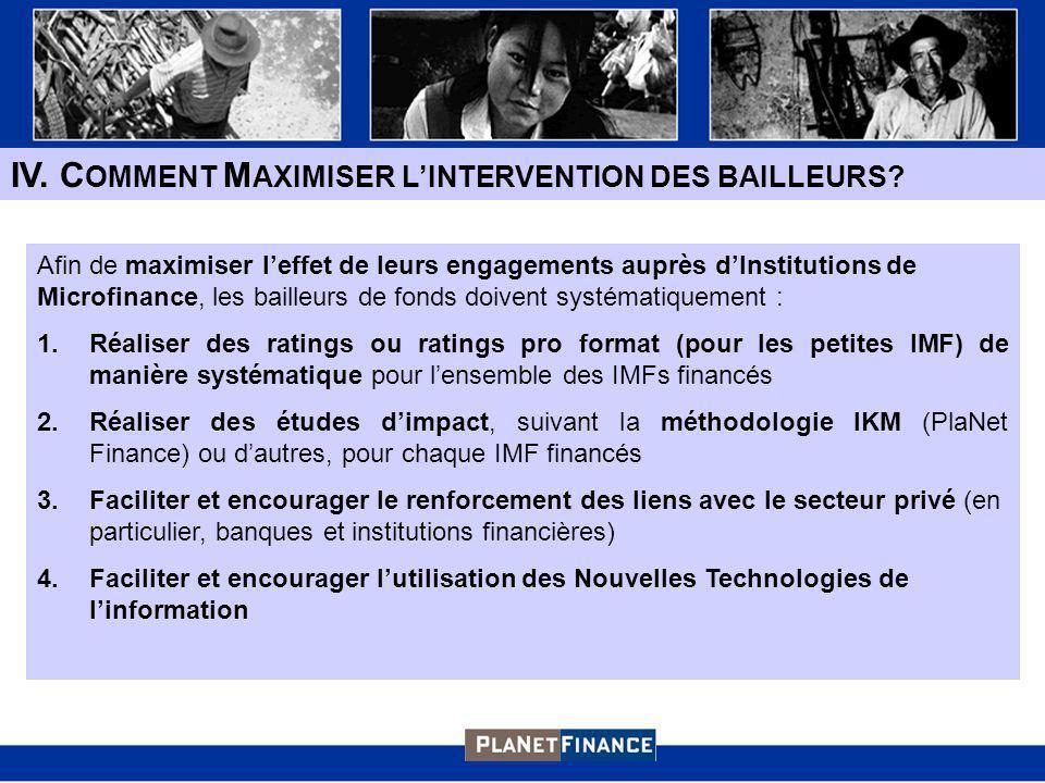 IV.C OMMENT M AXIMISER LINTERVENTION DES BAILLEURS.