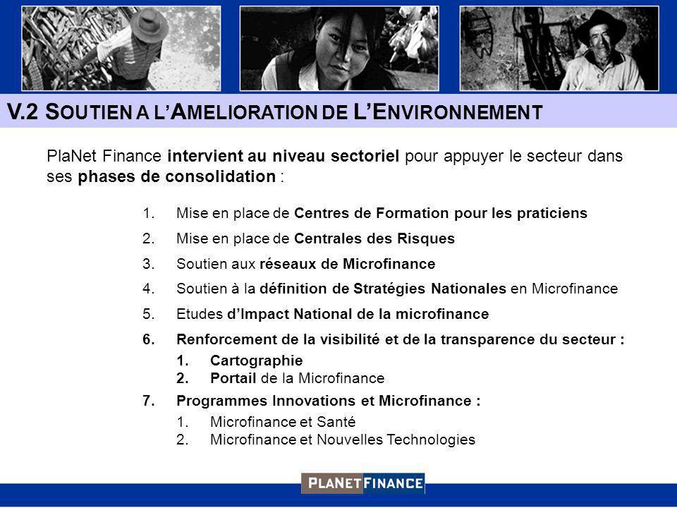 V.2 S OUTIEN A L A MELIORATION DE LE NVIRONNEMENT 1.Mise en place de Centres de Formation pour les praticiens 2.Mise en place de Centrales des Risques 3.Soutien aux réseaux de Microfinance 4.Soutien à la définition de Stratégies Nationales en Microfinance 5.Etudes dImpact National de la microfinance 6.Renforcement de la visibilité et de la transparence du secteur : 1.Cartographie 2.Portail de la Microfinance 7.Programmes Innovations et Microfinance : 1.Microfinance et Santé 2.Microfinance et Nouvelles Technologies PlaNet Finance intervient au niveau sectoriel pour appuyer le secteur dans ses phases de consolidation :