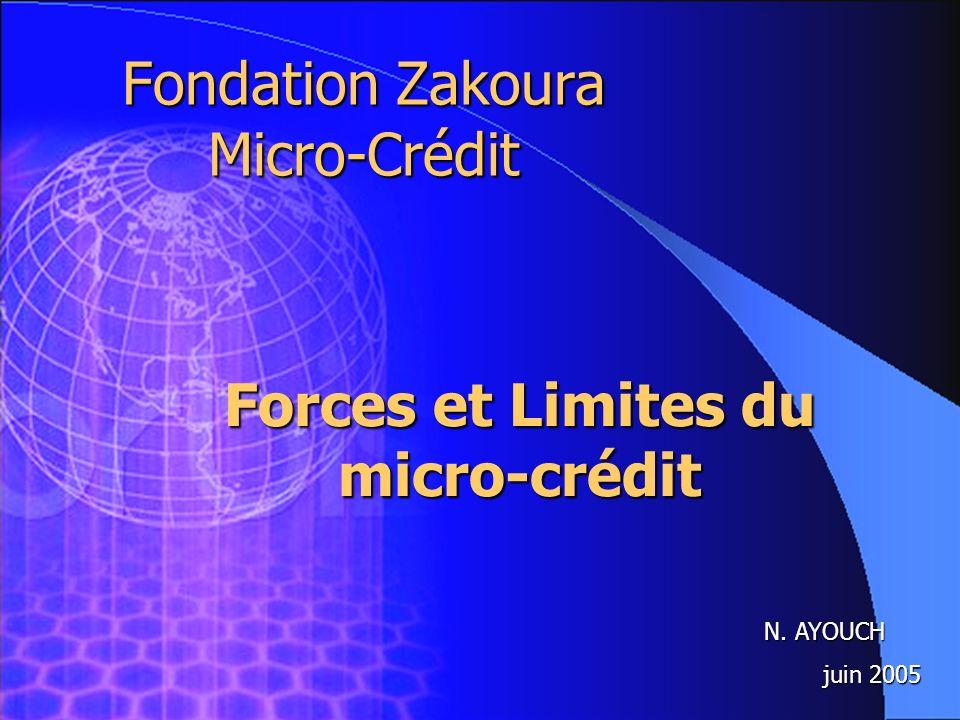 1 Fondation Zakoura Micro-Crédit N. AYOUCH juin 2005 Forces et Limites du micro-crédit