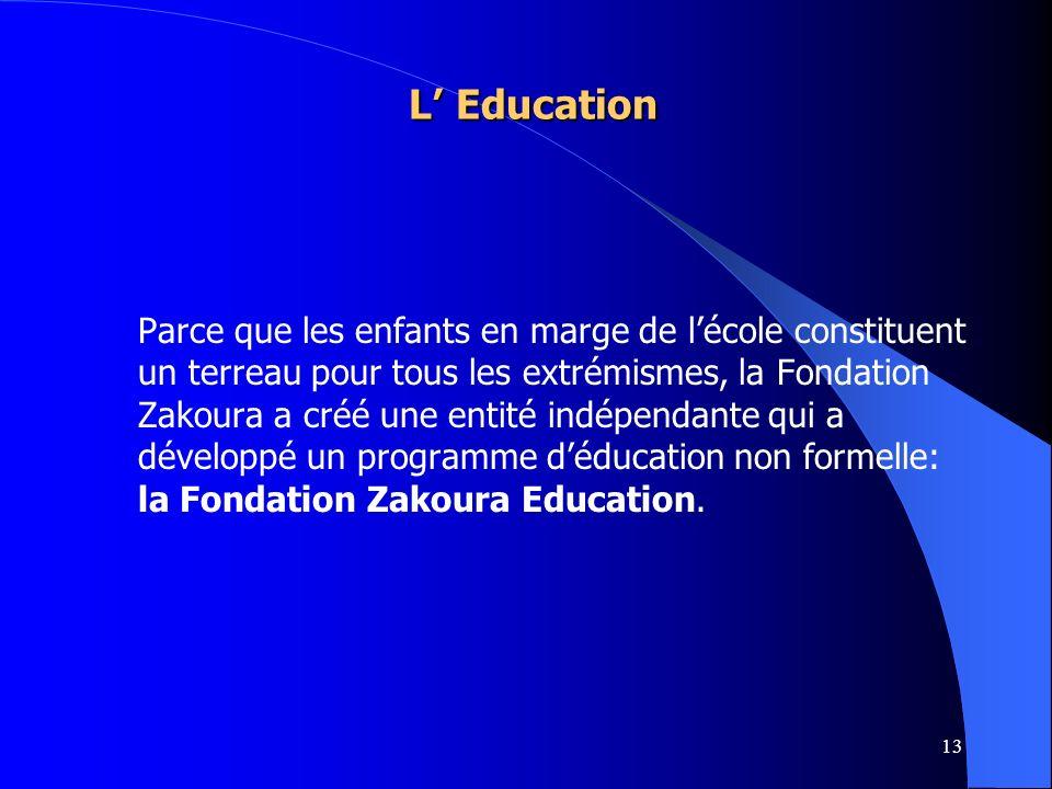 13 L Education L Education Parce que les enfants en marge de lécole constituent un terreau pour tous les extrémismes, la Fondation Zakoura a créé une