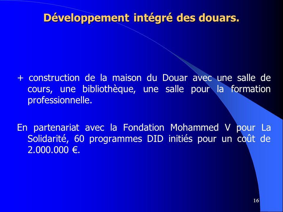 16 Développement intégré des douars. + construction de la maison du Douar avec une salle de cours, une bibliothèque, une salle pour la formation profe