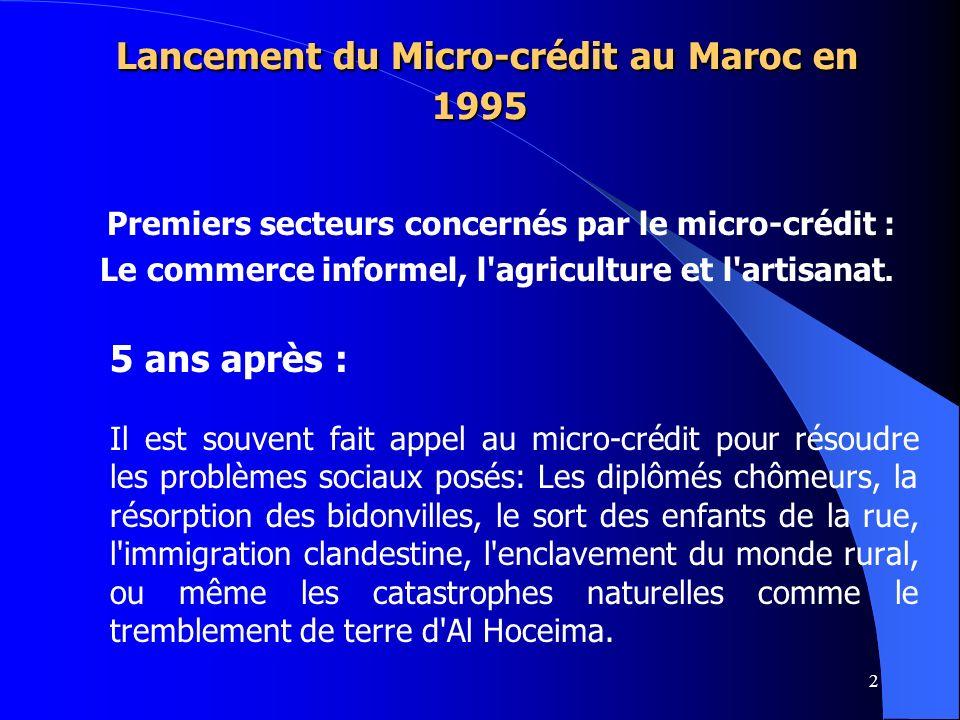 2 Lancement du Micro-crédit au Maroc en 1995 Lancement du Micro-crédit au Maroc en 1995 Premiers secteurs concernés par le micro-crédit : Le commerce