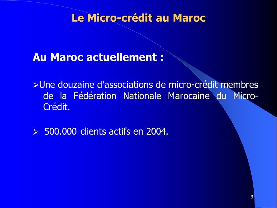 3 Au Maroc actuellement : Une douzaine d'associations de micro-crédit membres de la Fédération Nationale Marocaine du Micro- Crédit. 500.000 clients a