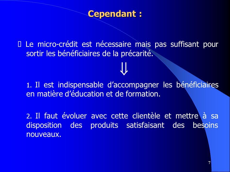 7 Cependant : Le micro-crédit est nécessaire mais pas suffisant pour sortir les bénéficiaires de la précarité. 1. Il est indispensable daccompagner le