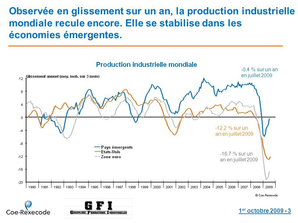 1 er octobre 2009 - 3 Observée en glissement sur un an, la production industrielle mondiale recule encore.
