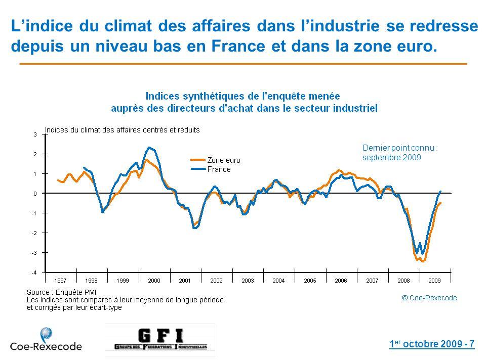 1 er octobre 2009 - 7 Lindice du climat des affaires dans lindustrie se redresse depuis un niveau bas en France et dans la zone euro.