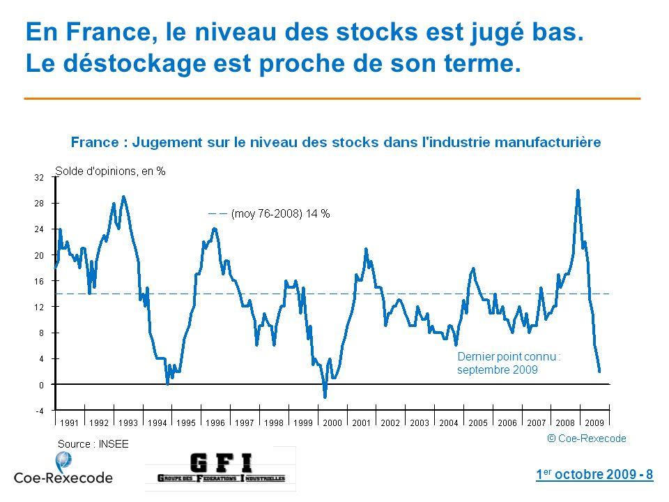 1 er octobre 2009 - 8 En France, le niveau des stocks est jugé bas.