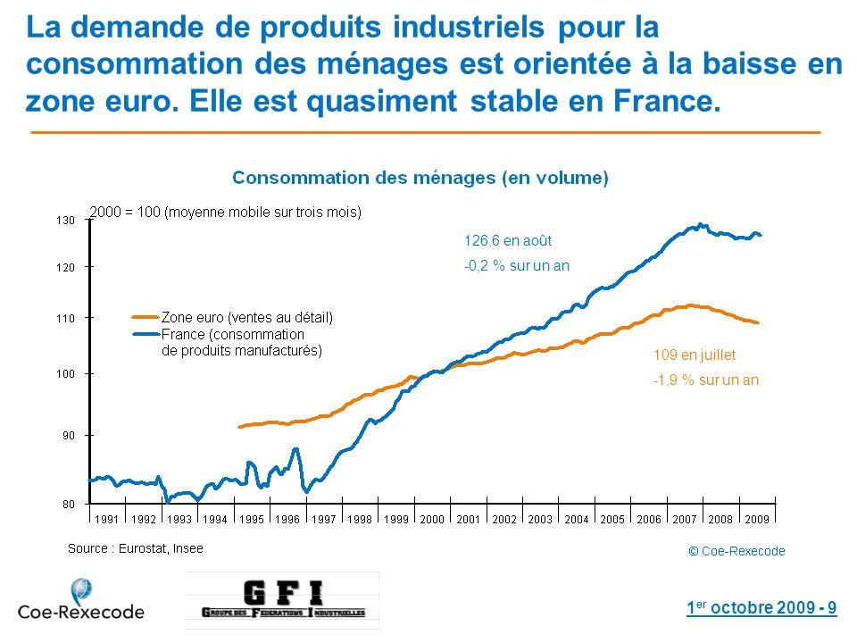1 er octobre 2009 - 9 La demande de produits industriels pour la consommation des ménages est orientée à la baisse en zone euro.