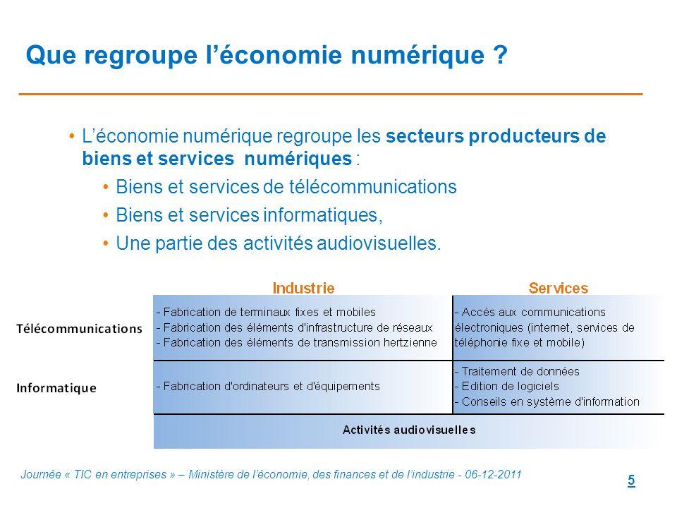 5 Que regroupe léconomie numérique ? Léconomie numérique regroupe les secteurs producteurs de biens et services numériques : Biens et services de télé