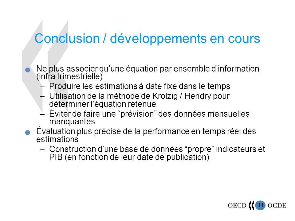 11 Conclusion / développements en cours Ne plus associer quune équation par ensemble dinformation (infra trimestrielle) –Produire les estimations à da