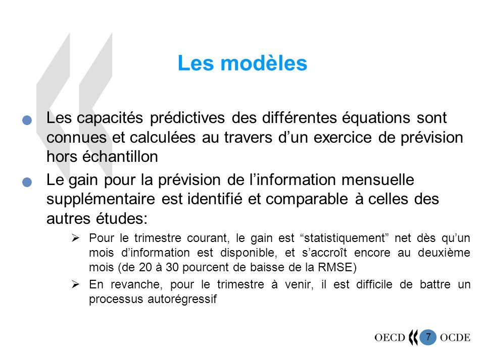 7 Les modèles Les capacités prédictives des différentes équations sont connues et calculées au travers dun exercice de prévision hors échantillon Le g