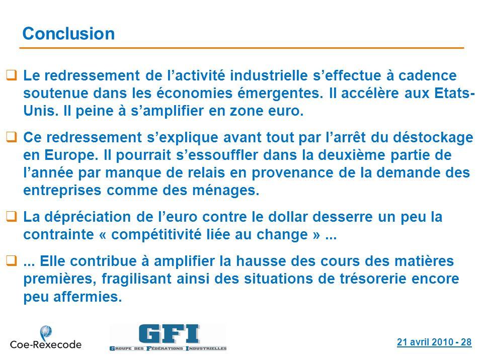 21 avril 2010 - 28 Conclusion Le redressement de lactivité industrielle seffectue à cadence soutenue dans les économies émergentes. Il accélère aux Et